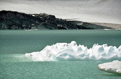 Photograph - Upper Grinnell Glacier Lake With Icerbergs by Bruce Gourley