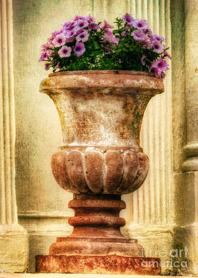 Earthenware Urn Photograph - Urn With Purple Flowers by Jerry Fornarotto