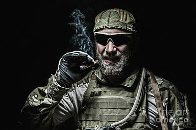 Recon Photograph - Us Army Soldier Smoking by Oleg Zabielin