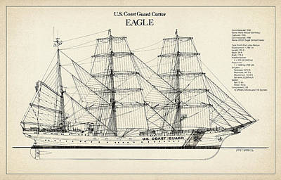 Tall Ship Digital Art - U.s. Coast Guard Cutter Eagle by Jose Elias - Sofia Pereira
