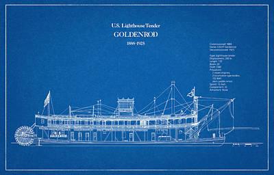 U.s. Coast Guard Lighthouse Tender Golden Rod Art Print