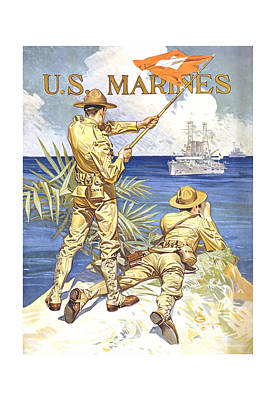 World War One Painting - Us Marines - Ww1 by War Is Hell Store