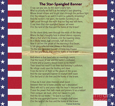 First Star Painting - Us National Anthem - The Star-spangled Banner by Celestial Images