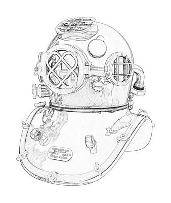 Digital Art - Us Navy Diving Helmet Mark V by PixBreak Art