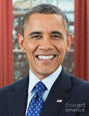 Painting - U.s. President Barack Obama by Celestial Images