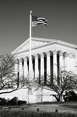 Photograph - Us Supreme Court Building With United States Flag by Brandon Bourdages