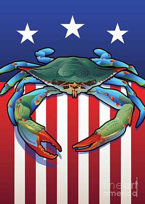 Digital Art - Usa Blue Crab by Joe Barsin