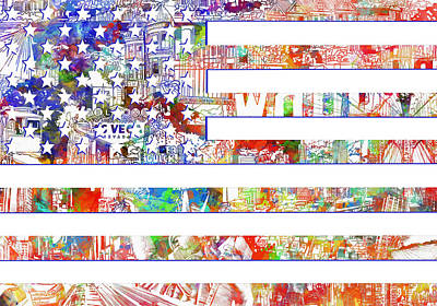 Painting - Usa Flag 13 by Bekim Art