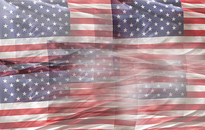 Usa Flag Digital Art - Usa Flags by Les Cunliffe