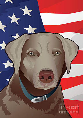Labrador Digital Art - Usa Silver Lab by Joe Barsin