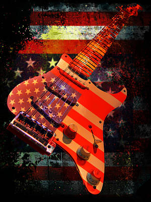 Digital Art - Usa Strat Guitar Music by Guitar Wacky