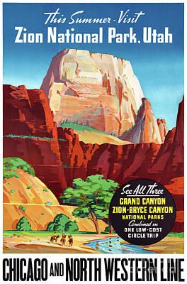 Mixed Media - Usa Utah Vintage Travel Poster Restored by Carsten Reisinger