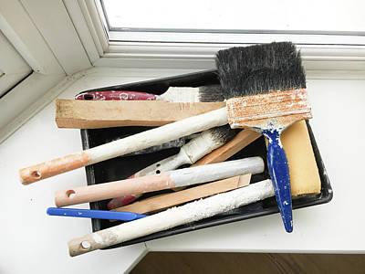 Used Paint Brushes Art Print