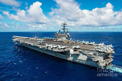 Navy Painting - Uss Ronald Reagan by Celestial Images