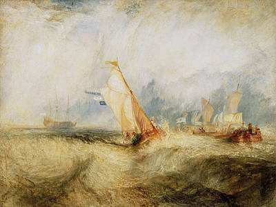 J Boat Painting - Van Tromp, Going About To Please His Masters by JMW Turner