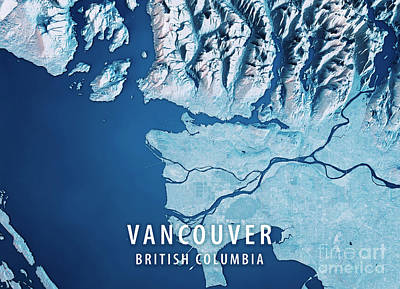 Canada Digital Art - Vancouver 3d Render Satellite View Topographic Map Blue by Frank Ramspott