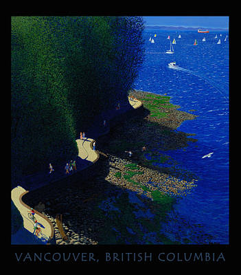 British Columbia Digital Art - Vancouver North Seawall Poster  by Neil Woodward