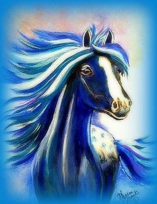 Peruvian Horse Painting - Vanessa Aqua by Karen Mask