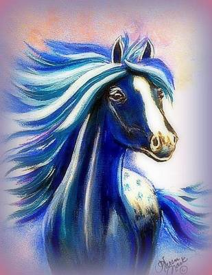 Peruvian Horse Painting - Vanessa Purple by Karen Mask