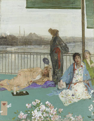 Whistler Painting - Variations In Flesh Colour And Green - The Balcony by James Abbott McNeill Whistler