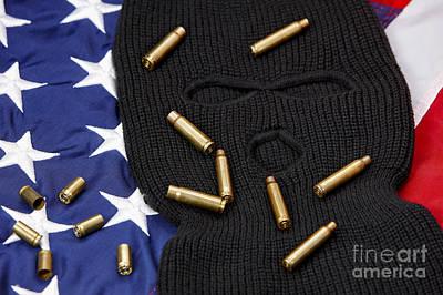 Various Empty Shell Casings Lying On Balaclava And United States Of America Flag Art Print by Joe Fox