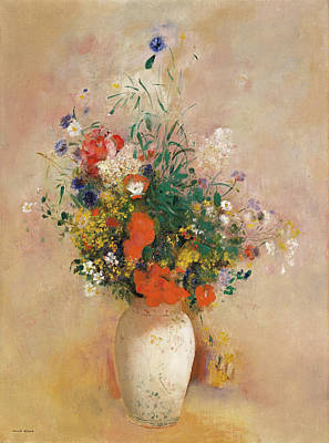 Symbolic Painting - Vase Of Flowers, Pink Background by Odilon Redon