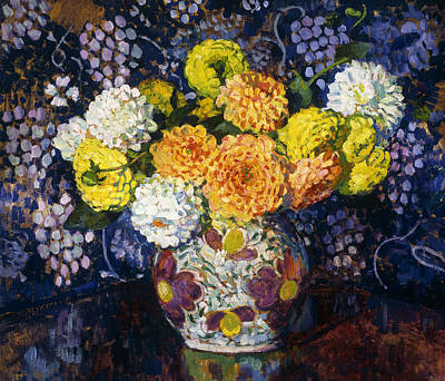 1907 Painting - Vase Of Flowers by Theo van Rysselberghe