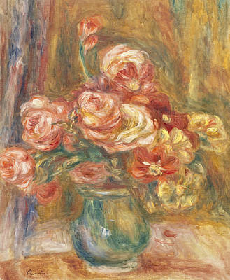 Red And Yellow Painting - Vase Of Roses by Pierre Auguste Renoir