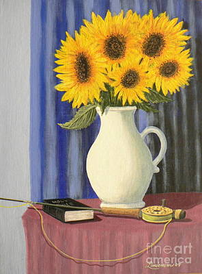 Vase Of Sunflowers Art Print by Don Lindemann