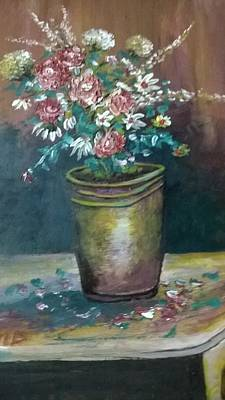 Vase With Red  Flowers Art Print