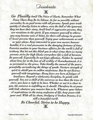 Desiderata Mixed Media - Venezio Style Desiderata Poem by Desiderata Gallery