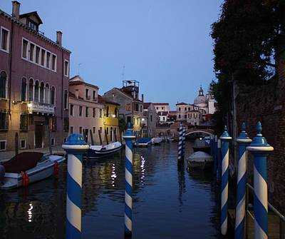 Art Print featuring the photograph Venice At Night by Pat Purdy
