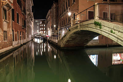 Photograph - Venice Canal At Night  by John McGraw