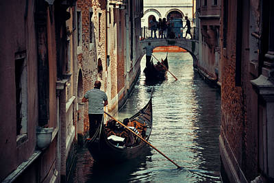 Photograph - Venice Canal Gondola by Songquan Deng