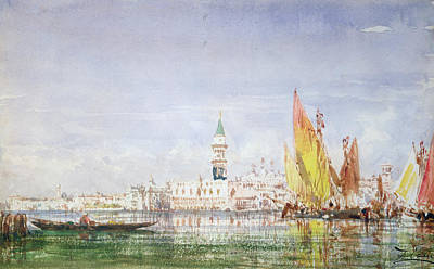 Harbor Drawing - Venice by Felix Ziem