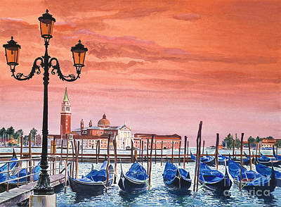 Florence Italy Painting - Venice Gondolas by David Lloyd Glover