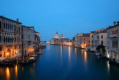 Photograph - Venice Grand Canal Night by Songquan Deng