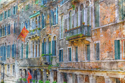 History Channel Digital Art - Venice Italy Buildings by Brandon Bourdages