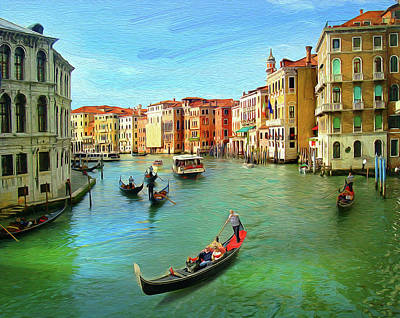 Venice, Italy. Illustration In Oil Painting Style.  Art Print