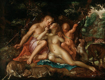 Painter And Dog Painting - Venus And Adonis by Joachim Wtewael