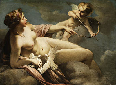 Late 18th Century Painting - Venus And Cupid by Sebastiano Ricci