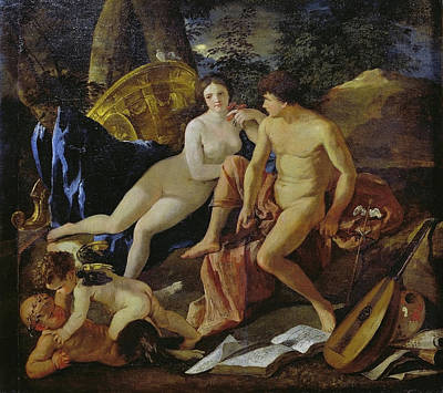 Guitar Angels Painting - Venus And Mercury by Nicolas Poussin