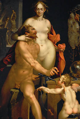 Painting - Venus In Vulcan's Forge by Bartholomeus Spranger