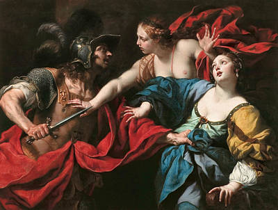 Troy Painting - Venus Preventing Her Son Aeneas From Killing Helen Of Troy  by Luca Ferrari