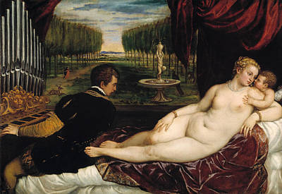 History Painting - Venus With An Organist And With Cupid by Titian
