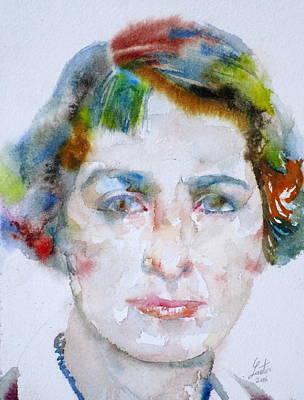 Painting - Vera Brittain - Watercolor Portrait by Fabrizio Cassetta
