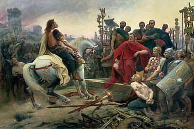 Caesar Painting - Vercingetorix Throws Down His Arms At The Feet Of Julius Caesar by Lionel-Noel Royer