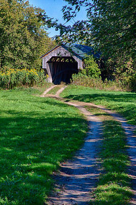 Photograph - Vermont Autumn At Gates Covered Bridge by Jeff Folger