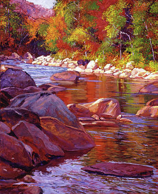 Vermont Wilderness Painting - Vermont River by David Lloyd Glover