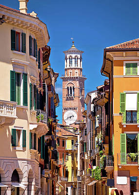 Photograph - Verona Colorful Street And Lamberti Tower View by Brch Photography